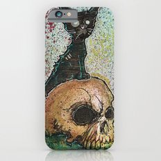 Black Cat with a Skull iPhone 6 Slim Case