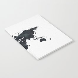 World Map in Black and White Ink on Paper Notebook