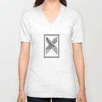 xmen V-neck T-shirts featuring Zentangle X Monogram Alphabet Illustration by Vermont Greetings