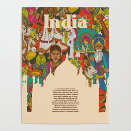 India cultural symbols patterns poster Poster