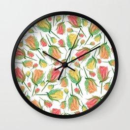 Single Rose Buds Watercolor Illustration Wall Clock