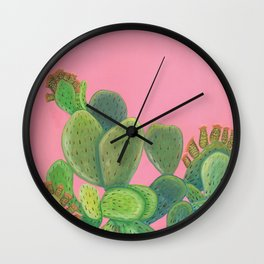 Prickly Pear Cactus (Opuntia ficus-indica) Wall Clock