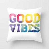 good vibes Throw Pillows featuring Good Vibes by dan elijah g. fajardo