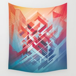 Future Cityscape Wall Tapestry