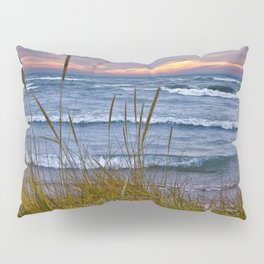 Sunset Photograph of a Dune with Beach Grass at Holland Michigan No 0199 Pillow Sham