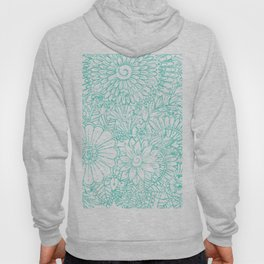 Artistic teal white hand painted floral pattern Hoody