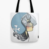 moto Tote Bags featuring Moto Girl by Cory Mendenhall / Blackwing Arts