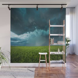 April Showers - Colorful Stormy Sky Over Lush Field in Kansas Wall Mural