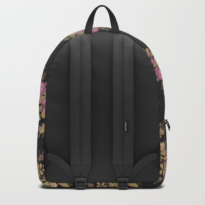 Colorful floral pattern on a black background . Backpack