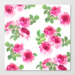 Raspberry Pink Painted Roses on White Canvas Print