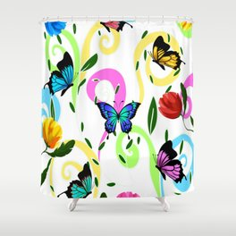 Butterfly,floral,colourful patter Shower Curtain