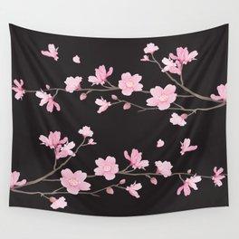 Cherry Blossom - Black Wall Tapestry