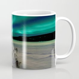 Winter Northern Lights Dog Sled (Color) Coffee Mug