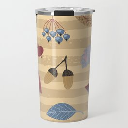 Geometrical brown blue autumn leaves mushroom stripes pattern Travel Mug