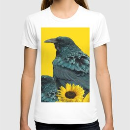 TWO CROW/RAVEN BIRD PORTRAITS & SUNFLOWERS GOLD  ART T-shirt
