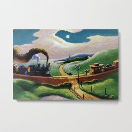 American West Classical Masterpiece 'Trains Colliding' by Thomas Hart Benton Metal Print