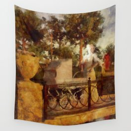 WALK IN THE PARK Victorian Impressionistic Mother and Pram Wall Tapestry