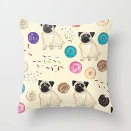 Pugs and donuts sweet sprinkles Throw Pillow