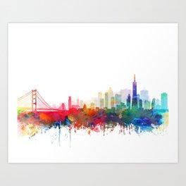 San Francisco City Skyline Watercolor by zouzounioart Art Print