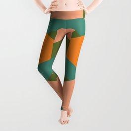California Retro Deco Pattern in Peach Orange Teal Leggings