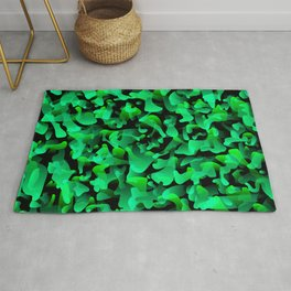 Chaotic bright on the dark of spots and splashes of green colors. Rug