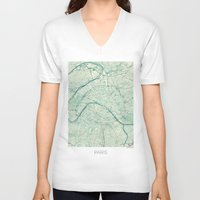 vintage map V-neck T-shirts featuring Paris Map Blue Vintage by City Art Posters