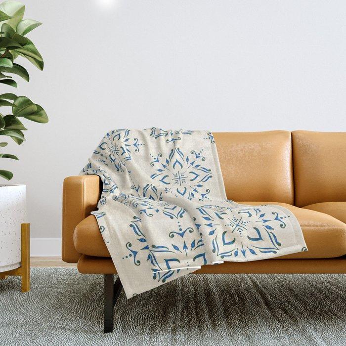 Portuguese tile style ornamental pattern - blue on cream Throw Blanket