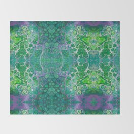 Green marble painting Throw Blanket