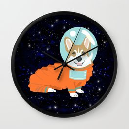Corgi spacedog astronaut outer space red corgis dog portrait gifts Wall Clock