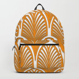 Orange,white,art deco, vintage,fan pattern, art nouveau, vintage, Backpack