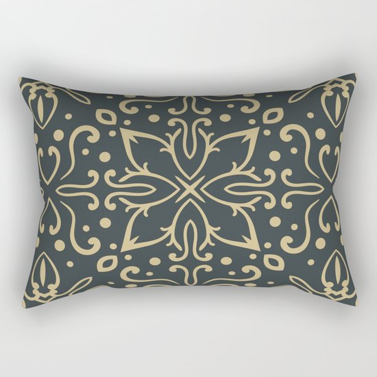 Decorative Floral Pattern 5 - Luxury, Outer Space and Tan Colors Rectangular Pillow