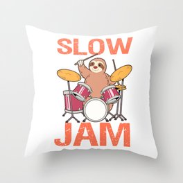 Slow Jam Sloth Drumming Gift Print Drummer Kids And Adult Print Throw Pillow