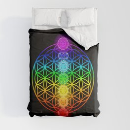 Flower of Life with Chakras Comforters