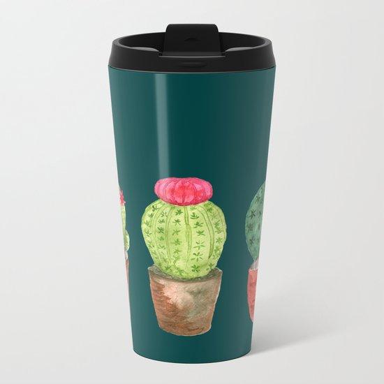 Three Cacti watercolor green Metal Travel Mug