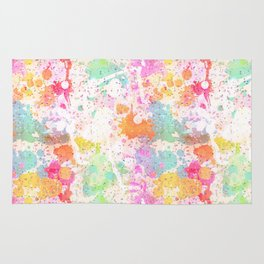 Abstract Paint Splatters Assorted Colors Rug