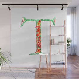 Floral Monogram Letter T Wall Mural