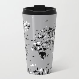 world map animals black and white Metal Travel Mug