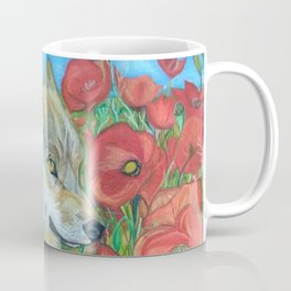 Wolf and Red Poppies Coffee Mug