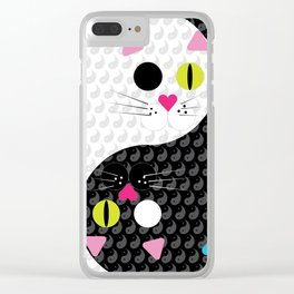 Yin and Yang Kitties Clear iPhone Case