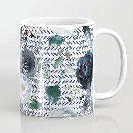 Navy Blue Boho Floral with Herringbone Print Coffee Mug