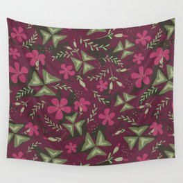 Shamrock Floral Layered Pattern / Purple Wall Tapestry