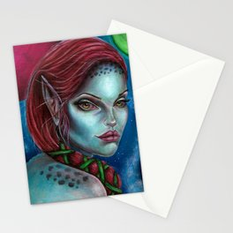 Apocolpyse Alien Girl Fantasy Art by Laurie Leigh Stationery Cards
