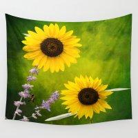 sunflowers Wall Tapestries featuring Sunflowers.  by LudaNayvelt