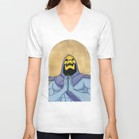 skeletor V-neck T-shirts featuring Saint Skeletor by Ghirigori Lab