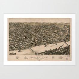 Perspective Map of Little Rock, Arkansas (1887) Art Print