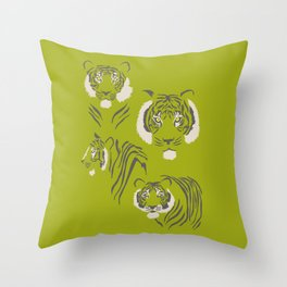 Tigers in Green Throw Pillow