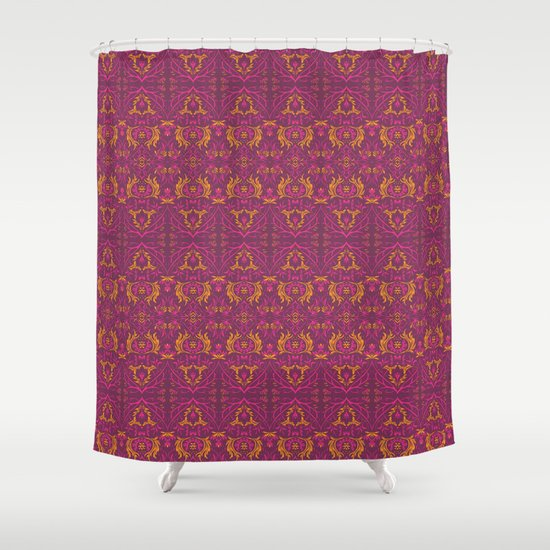Pink And Yellow Leaves Pattern Shower Curtain By Julia Coalrye Society6