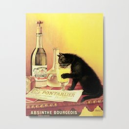Absinthe Bourgeois Black Cat Vintage Metal Print