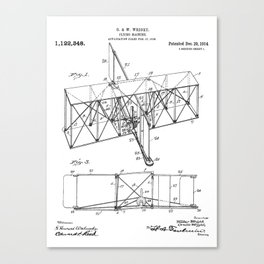 Wright Brother's Machine Patent - Airplane Art - Black And White Canvas Print