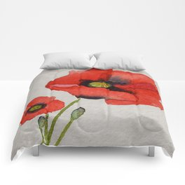 Watercolour Poppies Comforters